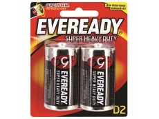 EVEREADY SUPER HEAVY DUTY BATTERY 1250-BP2 SIZE D 2'S