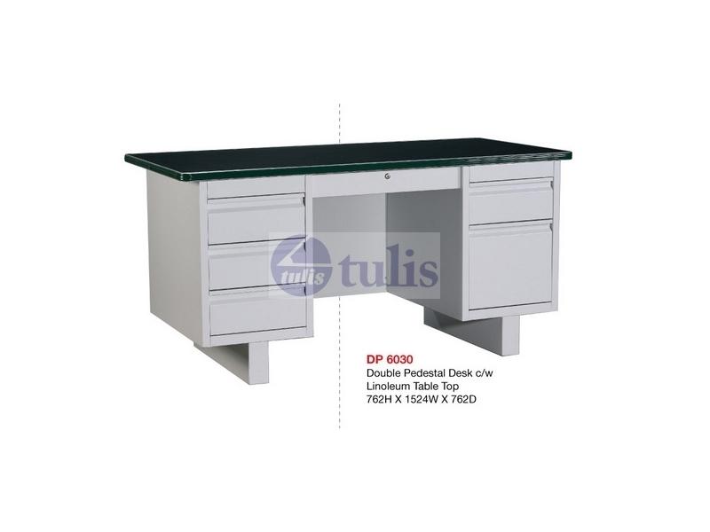 steel desk dp6030 double pedestal c w linoleum table top largest office supplies online store. Black Bedroom Furniture Sets. Home Design Ideas